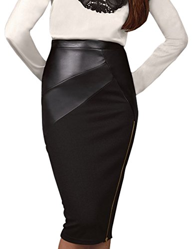 Just Quella Womens PU Pencil Leather Skirt 8006