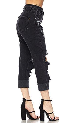 SOHO GLAM Black Distressed High Waisted Denim Mom Jeans