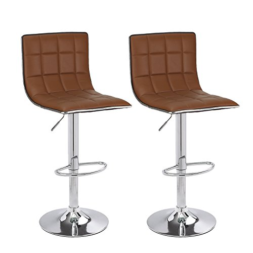 Asense Leather Hydraulic Adjustable Barstool Chair with Footrest & Chrome Metal Base (Set of 2) (Brown) - Mr Lounge Chair