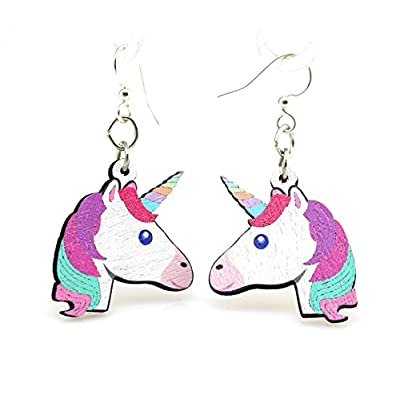 Green Tree Jewelry Rainbow Unicorn Earrings Wood Wooden Laser Cut # 1515: Toys & Games