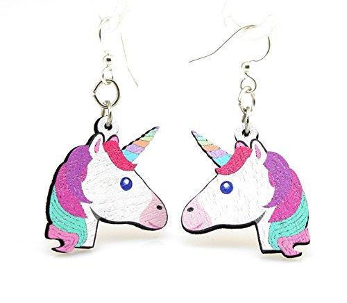 Green Tree Jewelry Rainbow Unicorn Earrings Wood Wooden Laser Cut # 1515 3