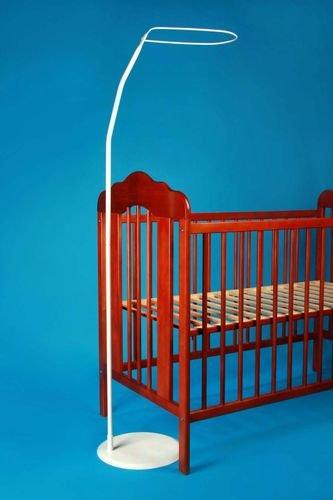Amilian® Freistehende Himmelstange mit Fuss für alle Baby-und Kinderbetten 140x70 Weiß GlocalBerlin
