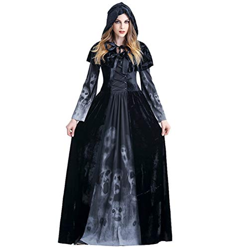 Women's Fancy Dress Halloween Night Cosplay Outfit Black Witch Demon Horror Vampire Hooded Robe -