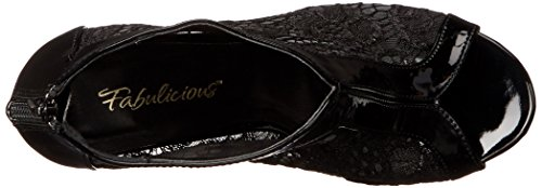 Fabulicious Womens AMU48/B-LC Dress Pump Black Patent/Lace 08lb6wtM1