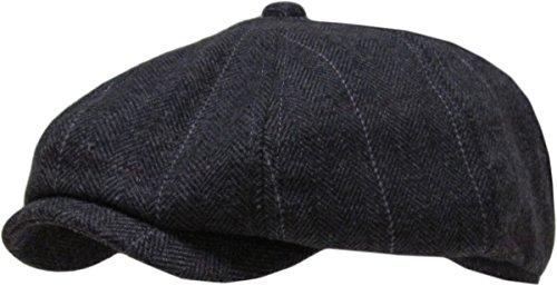 KBW-310 BLK S/M Ascot Ivy Button Newsboy Hat Applejack Wool Blend Hat