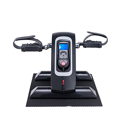 Pinty Compact Motorized Mini Exercise Bike Pedal Exerciser Portable Cycle Lightweight for Arms and Legs with LED Monitor Fitness