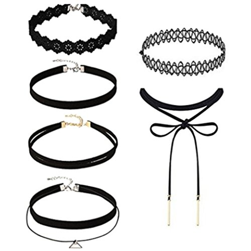 Decorated Lace - UNKE 6Pcs Womens Black Velvet Choker Necklace for Women Girls Lace Chokers Gothic Tattoo Necklace Pendant