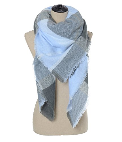 Sundayrose Plaid Blanket Scarf Oversized Square Tartan Shawl Wrap (Blue Gray)