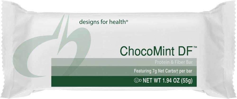 Designs for Health ChocoMint DF - Mint Chocolate Vegan-Friendly Protein Bars, 7 Net Carbs + 12 Grams Protein with Prebiotic Fiber, Dairy-Free (12 Bars)