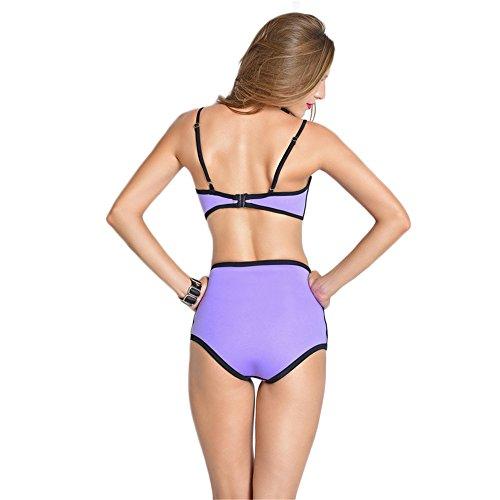 COCO clothing Las Mujeres Verano Push Up Bikini Conjunto Dos Piezas Cintura Alta Vendaje Traje de Baño Con Relleno Bañador