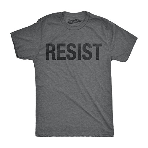 Crazy Dog TShirts - Mens Resist T Shirt United States of America Protest Rebel Political Tee For Guys (Grey) - S - herren - S