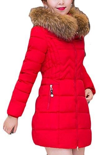 Fit Mid Women Generic Coat Down Fur Slim Solid Collar Warm 2 Length Color UwRASApnq