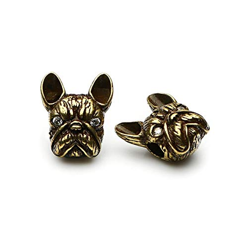 Calvas AAA+ 2pcs/Pack Vintage French Bulldog Head for Bracelet Jewelry Making Finding 3 Colors Metal Jewelry Accessories Wholesale - (Color: Gold) ()
