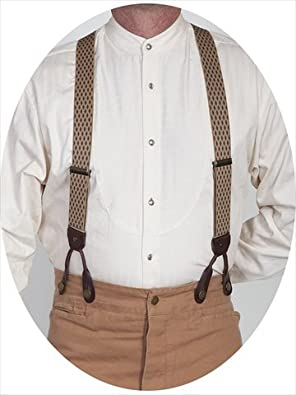 Men's Vintage Style Suspenders Mens Diamond Print Suspender - Beige One Size $33.93 AT vintagedancer.com