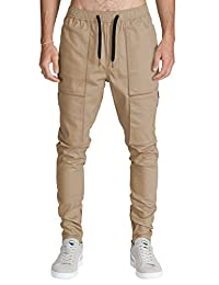 Italy Morn Mens Cargo Chino Pant Casual Tapered Slim Elastic Waist Multi Pockets
