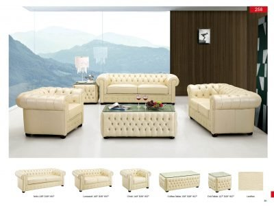 Marvelous Amazon Com Esf Modern 258 Full Ivory Italian Leather Sofa Pabps2019 Chair Design Images Pabps2019Com