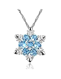 Frozen Snowflake Pendant Necklace - Christmas Jewelry Gift for Women, Men, Teens, Girls - Blue Stone Snowflake Gift of Joy