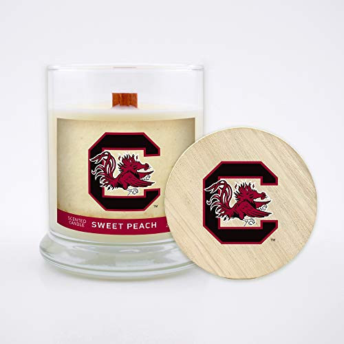 - Worthy Promo NCAA Scented Candle 8 Oz Soy Wax, Wood Wick and Lid, South Carolina Gamecocks (Sweet Peach)