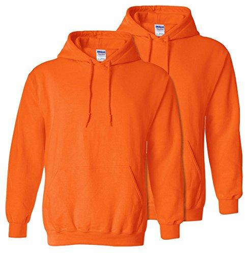 Gildan Mens Big and Tall Heavy Blend Fleece Hooded Sweatshirt G18500, Safety Orange, XX-Large