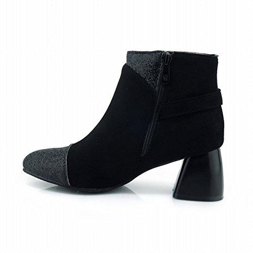 Charm Fot Kvinna Mode Multi Paljetter Dragkedja Hög Klack Boots Svart