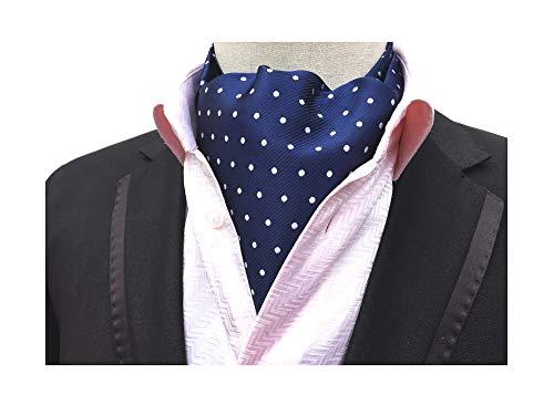 Men's Navy Blue Cravat Tie Ascot White Polka Dot Woven Casual Ascot Christmas Gift Blue White Polka Dot