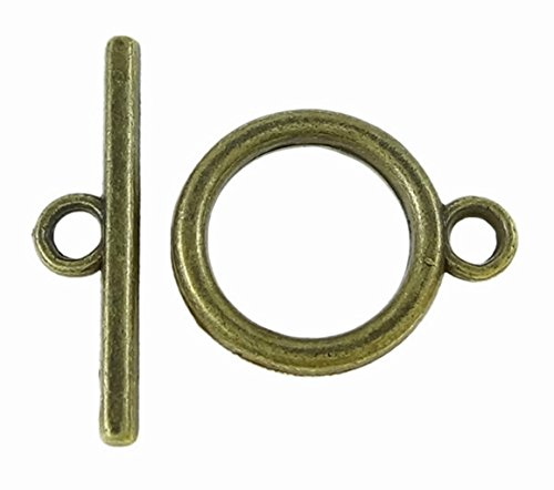 Toggle Clasp T-Bar & Ring Clasps 18mm, Antiqued Bronze Color, 20 Sets