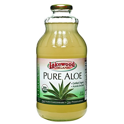 - Lakewood Organic Aloe Juice - Fresh Pressed - Inner Fillet - 32 oz - 95%+ Organic - Gluten Free - Contains 100% juice