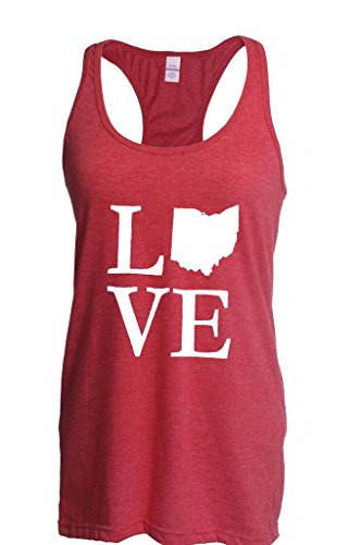 (Blue Tees Love State Ohio Fashion Present Women Racerback Tank Clothes Medium Heather Red)