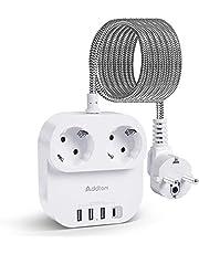 Addtam Stekkerdoos, 2 Stopcontacten met 4 USB-Poorten (3 USB A en 1 USB C in Totaal 4,5A), met 1,8M Gevlochten Koord, Overbelastingsbeveiliging, Bescherming voor Kinderen, Wit