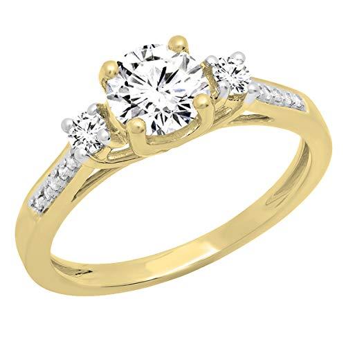 18K 6 MM Round Moissanite,White Sapphire & Diamond 3 Stone Engagement Ring, Yellow Gold, Size 7