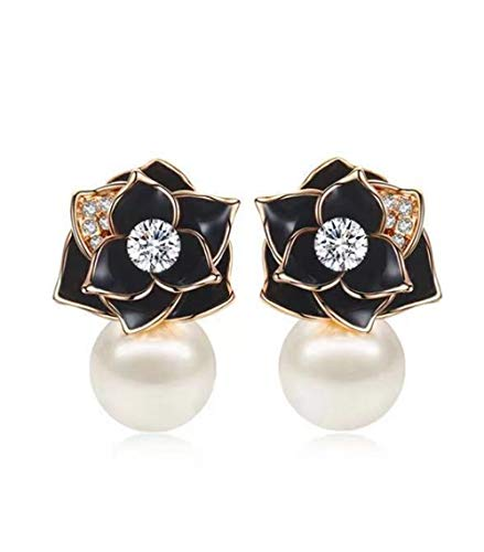 - ANDANTINO Pearl Black Rose Flower Stud Earring for Women (Pearl Rose Gold Black Earring)
