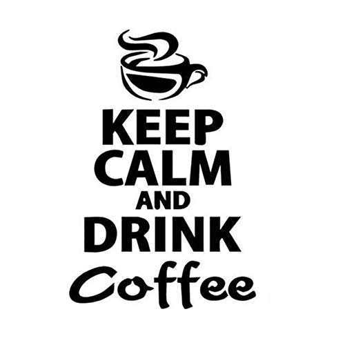 Creatiee-Pro Mug Keep Calm and Drink Coffee Wall Decor Sticker, Removable DIY Vinyl Wall Decor Art Mural for Kitchen Restaurant Living Room Pub Family Home Decor - Unique & Relaxing