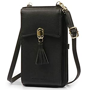 Crossbody Phone Bag Wallet RFID Womens Wallet Small Handbag Zipper Around Cellphone Credit Card Purse with Tassel