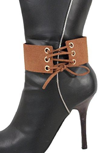 tfj-women-boot-bracelet-strap-bling-mini-corset-style-strap-western-fashion-anklet-shoe-charm-brown-
