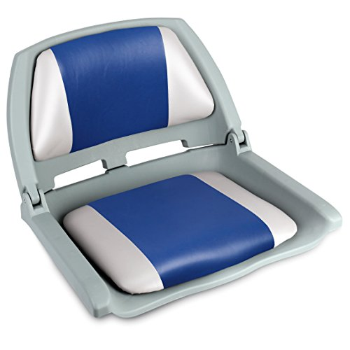 - Leader Accessories Molded Fold Down Boat Seat (Gray/Blue)