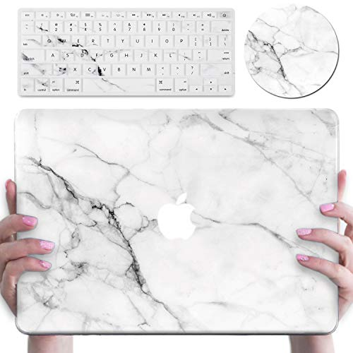 MacBook Air 13 Inch Case A1369/A1466, DEENAKIN Shock-Proof Anti-Scratch with White Marble Design,Plastic Hard Shell Protective Case & Keyboard Cover & Mouse pad (White)