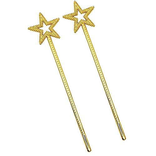 Wanda Halloween Costume (mollensiuer 2Pcs 13 Inches Star Wand Costume Props Star Magic Wand Angel Fairy Wands Sticks for Birthday Party Halloween Cosplay Christmas Princess Role Play,)