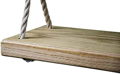 Made in the USA Red Oak Premium Wooden 36 Inch Tree Swing – Outdoor Patio Wood w 15 ft of Rope on Each Side