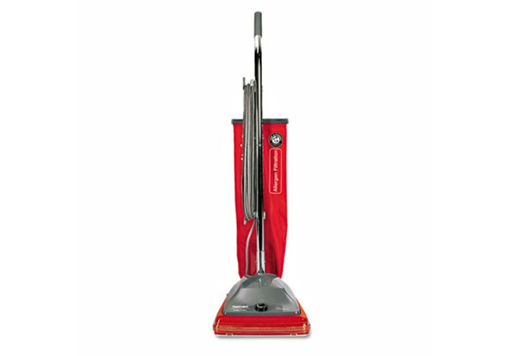 Commercial Standard Upright Vacuum Red Fabric Dimensions: 22.25''W X 17.5''D X 8.5''H Weight: 21 Lbs