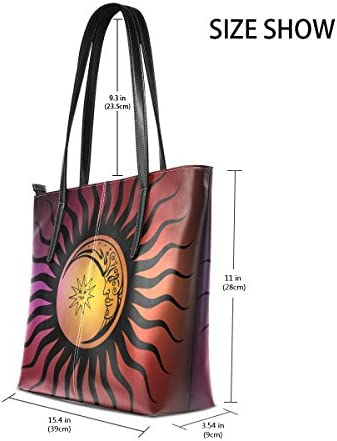 COOSUN Vintage Soleil et la Lune PU Sac à Main Sac à bandoulière en Cuir et Sacs à Main Sac fourre-Tout pour Les Femmes Moyen muticolour