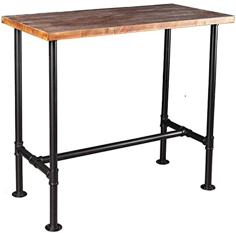 Diwhy DIY Industrial Design Pipe Dining Table Casual Computer Laptop Table Modern Studio Wood and Metal Rectangular Dining Table homeoffice Desk Computer Table Black 41.3H