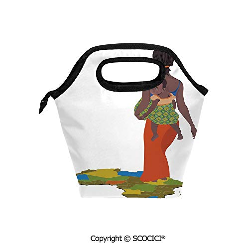 Lightweight Portable Picnic tote lunch Bags Mother Carrying Baby Girl on Her Back Africa Country Culture Continent Map Decorative lunch bag for Employee student Worker.