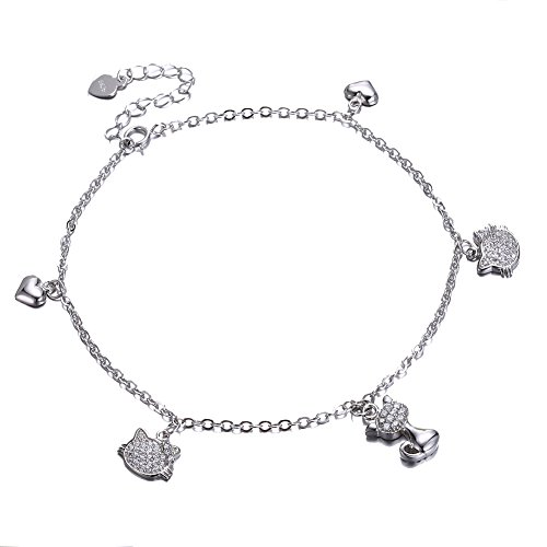 NH Jewelry Anklet Bracelet Silver Cutie Cat Anklet for Women S925 Sterling Silver Adjustable Foot Bracelet for Women Girls - Cat Sterling Silver Anklet