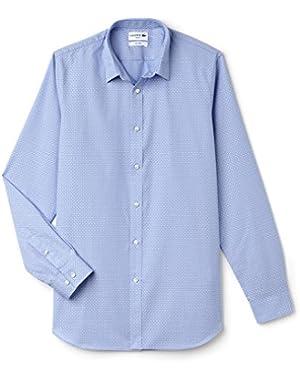 Lacoste Men's Men's Blue Jacquard Cotton Shirt in Size 42-L Blue