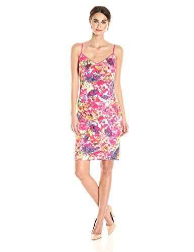 Laundry by Shelli Segal Women's Printed Burno Out Sequin Cocktail, Bright Rose, 4