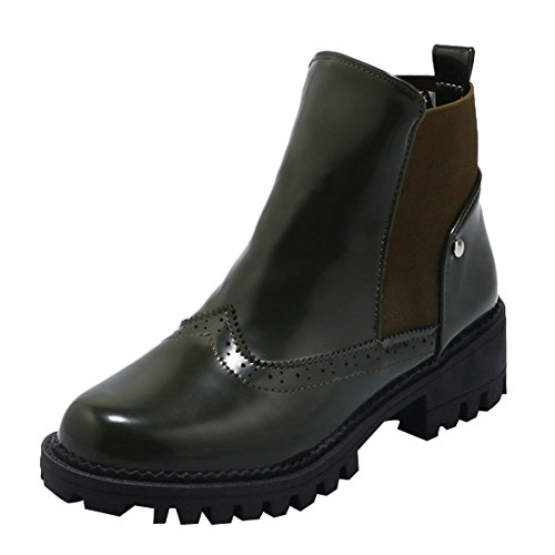 Latasa Dames Chunky Enkel Hiel Chelsea Boots Donkergroen