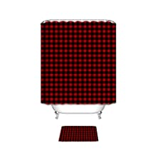 Bathroom Shower Curtain with Mats Rugs,Rustic Red Black Buffalo Check Plaid Pattern Bath Accessory Set