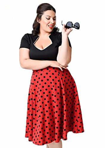 Rockabilly Pinup tamaño Vintage y Classic de Plus Rojo 50s de mujer vestido Q Swing lunares la amp; vwxPWqF