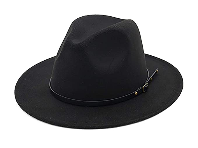 EachEver Women s Woolen Wide Brim Fedora Hat Classic Jazz Cap with Belt  Buckle Black 1103a46dd55