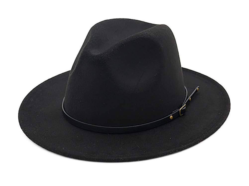 EachEver Women's Woolen Wide Brim Fedora Hat Classic Jazz Cap with Belt Buckle Black